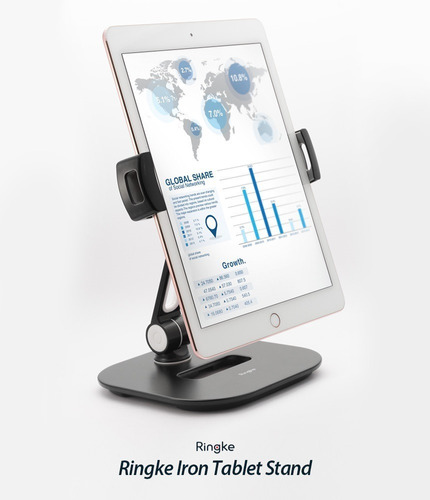 Imagen 1 de 10 de Soporte iPad Tablet Celu Iron Ringke Giratorio 360° Premium