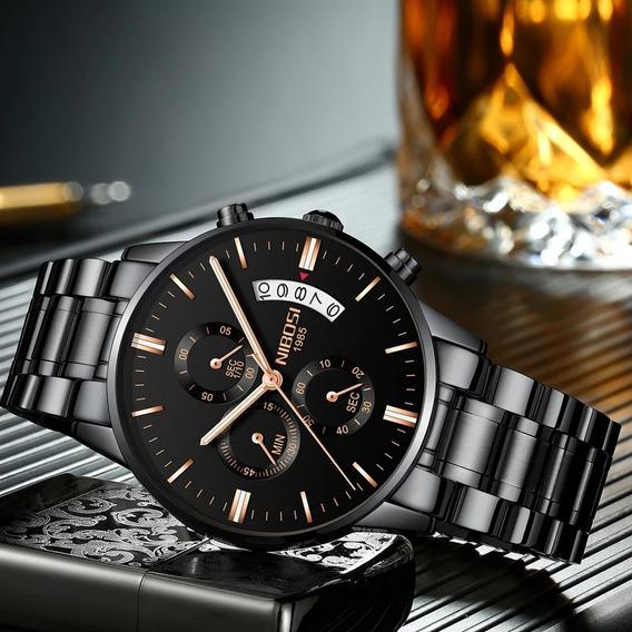 Relógio Masculino Nibosi 2309-1-2 Original 30m Preto