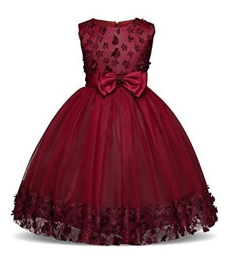 Vestido Para Niña Fiesta Boda Xv Princesa Rojo2 Moños