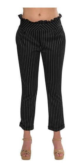 Pantalones Dama Mujer Casuales Flojos Rayas Negro W91101