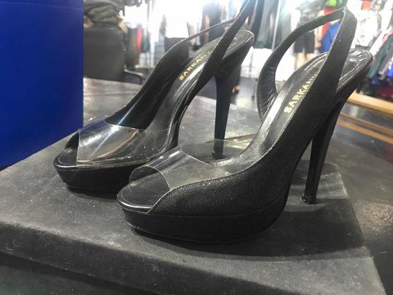 Zapatos Sandalias Sarkany Glitter Negro