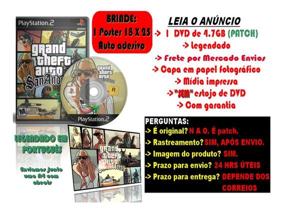 Gta San Andreas Legendado Em Português Para Ps2 + Brinde