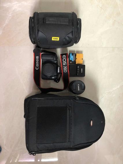 Câmera Canon 70dLente 18-135mm, Mochila, Case E Bat. Extra.