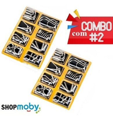 2 Quebras Cabeça De Metal Enigma Kit Com 8 Jogos