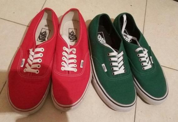 Zapatos Vans Originales. Color Rojo Y Verde. 25v