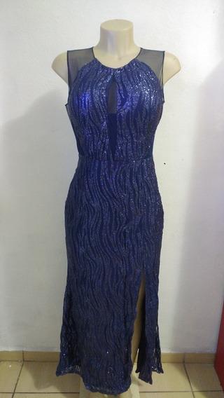 Vestido De Festa Longo Com Fenda E Brilho Azul