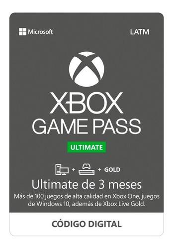 Imagen 1 de 6 de Xbox Game Pass Ultimate 3 Meses 1 Solo Codigo De 3 Meses!!