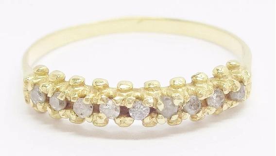 Meia Aliança De Brilhantes Diamantes Ouro 18k Frete Grátis