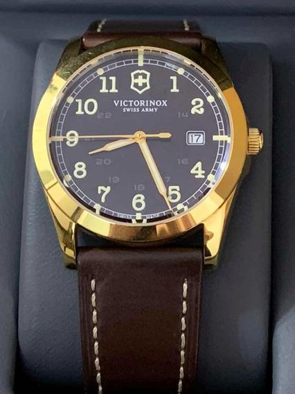 Relógio Victorinox Cristal Saphira Caixa Ouro Plaque 18k
