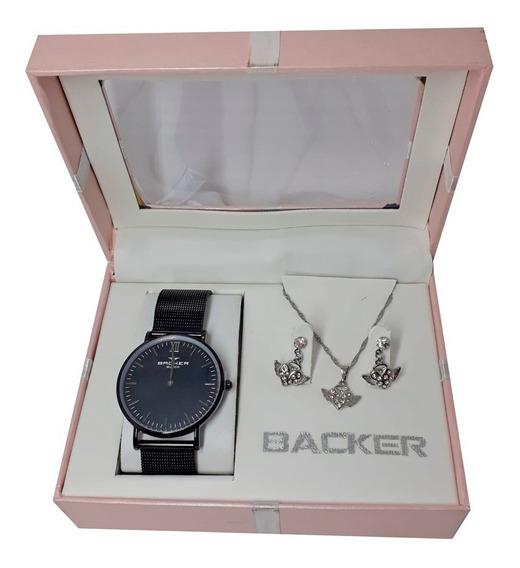 Kit Relógio Backer Feminino Preto + Semi Joia Ba140030102f