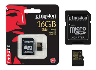Cartão De Memória Kingston Microsd C Adaptador Sd Uhs-i 16gb