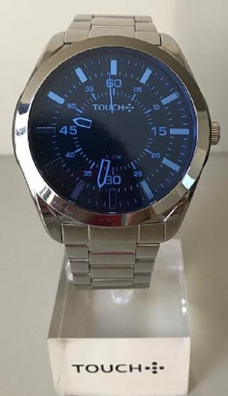 Relógio Masculino Touch Prata Com Vidro Azul