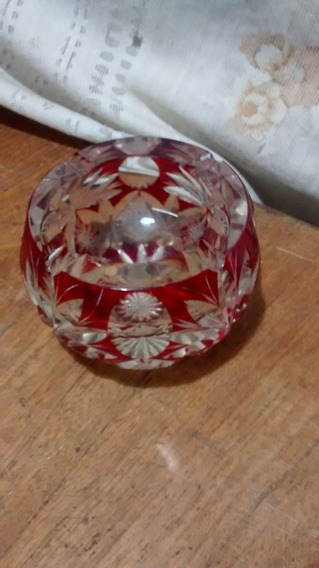 Cenicero De Cristal De Murano Color Rojo En Buen Estado