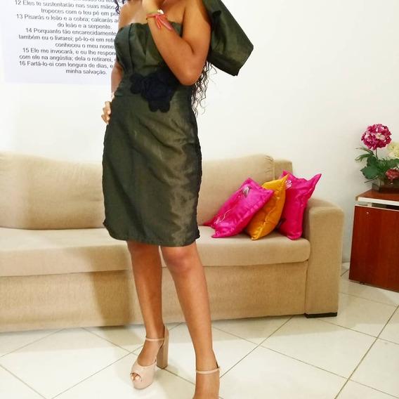 Vestido Verde Em Tafetá, Acompanha Bolero