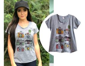 Roupas Femininas Camiseta Câmeras Fotografia Cinza