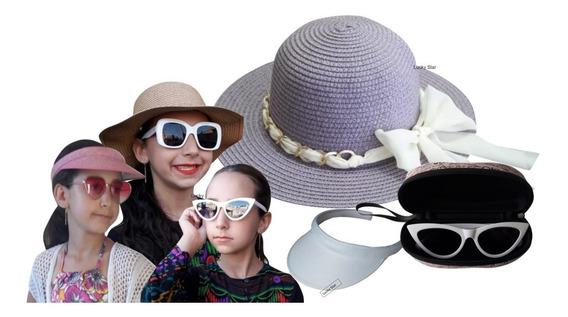 Óculos De Sol Infantil + Chapéu De Praia 4 Até 8 Anos + Viseira Menina Kit