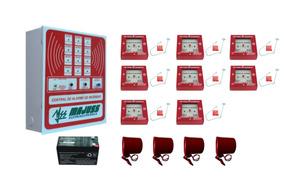 Central Alarme De Incêndio E 8 Acionadores 4 Sirenes Bateria