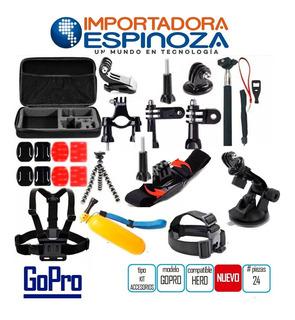 Go Pro Kit Accesorios 24 Piezas Camara Gopro Hero 1 2 3 4
