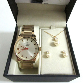 Relógio Champion Elegance Feminino Cn27590x + Kit Presente 3