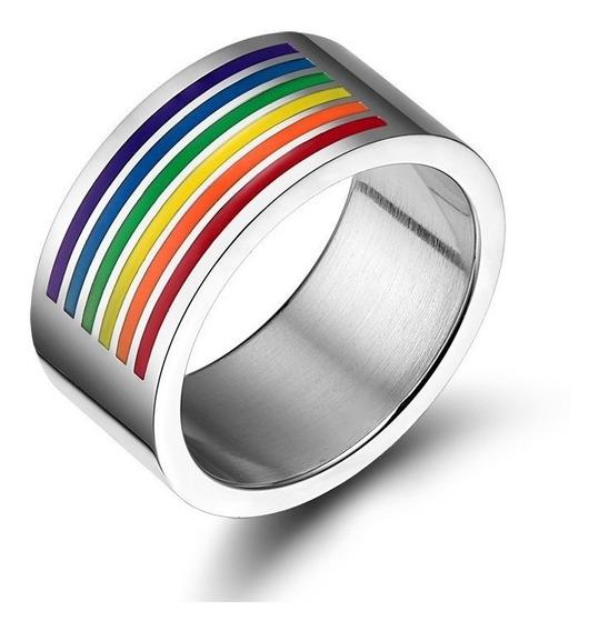 Anillo Gay Pride Medio Arcoiris Discreto Grueso Envío Gratis
