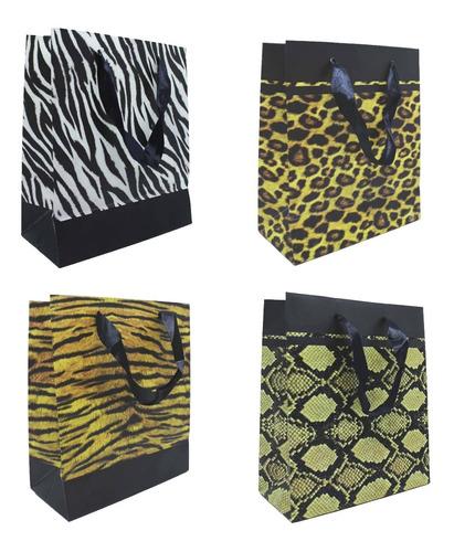 Sacolas Importadas Animal Print Grandes P/presentes 43x33 Cm