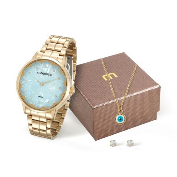 Relógio Mondaine Feminino Dourado Kit 36033