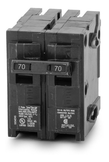 Breaker Residencial Qp 2x70 Amp Empotrar Siemens