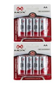 Pilha Recarregavel Bateria Aa 2600 Mah 8 Pilhas Mox