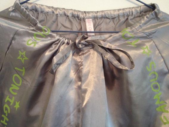 Pantalones De Pijama Plateado Y Negro Talla S