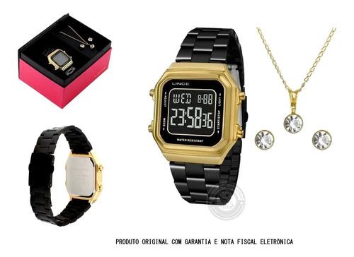 Relógio Lince Digital Alarme Sdg618lk Colar Brinco Original