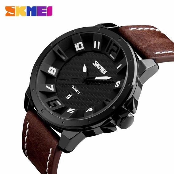Relógio Luxo Social Couro Marrom Original Analógico Promoção