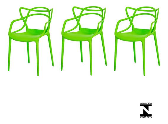 Kit 3 Cadeiras Allegra Cozinha C/ Inmetro Várias Cores