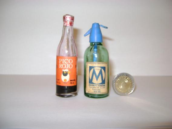 Botellita Miniatura Vino Pico Rojo Y Sifon Soda Monti