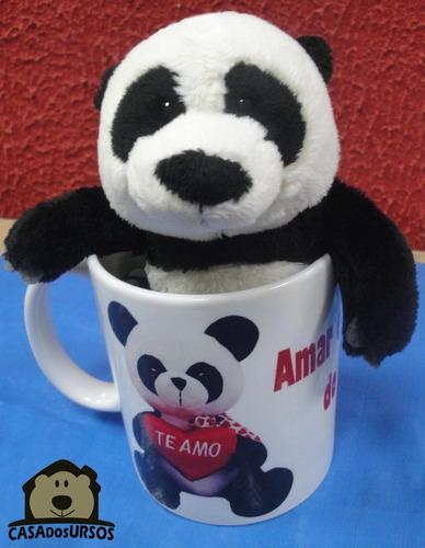 Imagem 1 de 6 de Linda Caneca Te Amo De Porcelana + Urso Pelúcia Panda 15cm