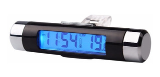 Reloj Con Termómetro Para Auto Con Luz - Electroimporta