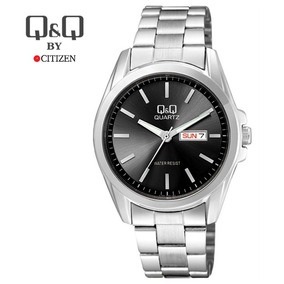 d0769909743d Reloj Metal Acero Negro Fecha Hombre Casual Q   Q Citizen