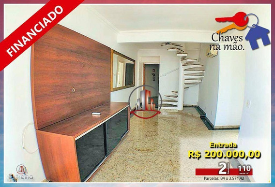 Cobertura Com 2 Dormitórios À Venda, 110 M² Por R$ 500.000,00 - Vila Guilhermina - Praia Grande/sp - Co0016