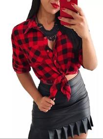 Camisa Xadrez Feminina Manga Longa Roupas