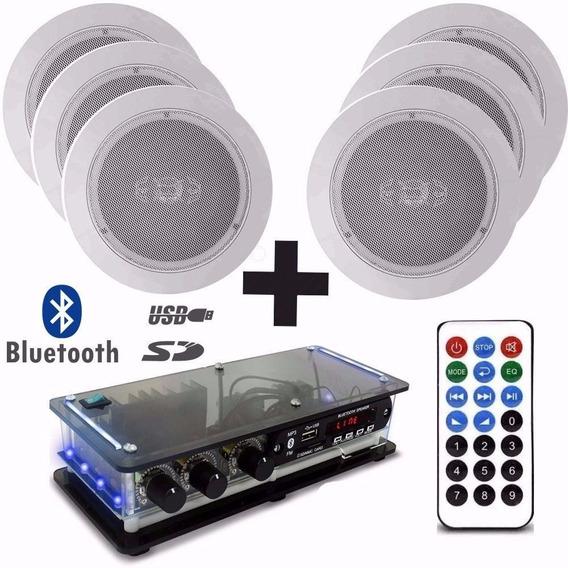 Kit 6 Caixas Acústicas + Amplificador Bluetooth Orion Som