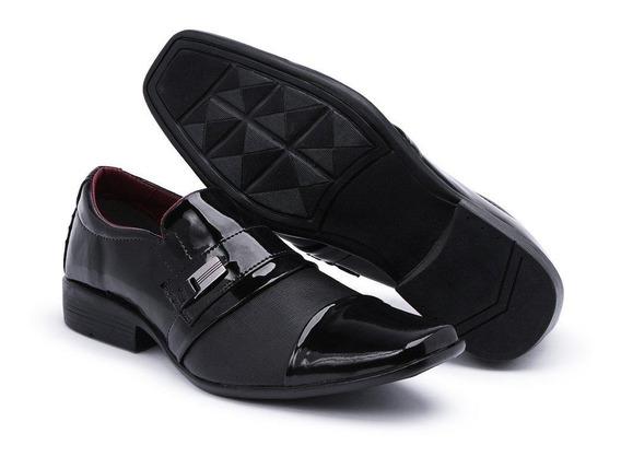Sapato Social Masculino Verniz Sola Borracha Moderno Luxuoso
