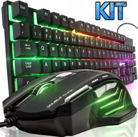Kit Teclado Led Semi Mecânico Luminoso + Mouse Gamer Usb Pc