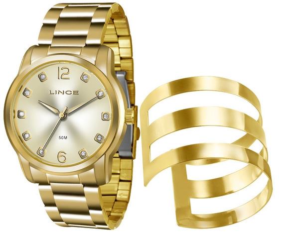 Relógio Lince Feminino Dourado - Lrg4391l C2kx + Bracelete