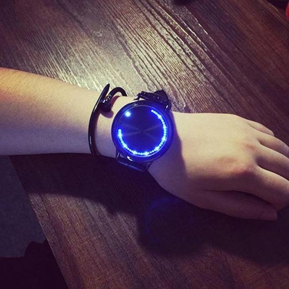 Relógio Blue Led Touchscreen Design Minimalista E Moderno