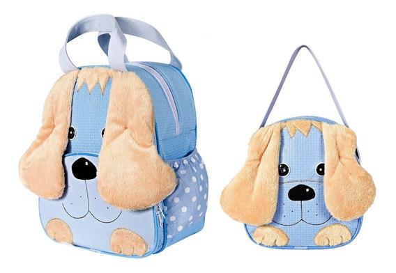 Kit Mochila Infantil Cachorro Azul P + G Bebê Escolar