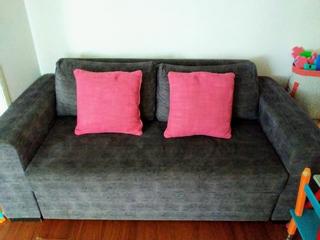 Sofa-cama De 2plzas Color Gris/incluye Cojines