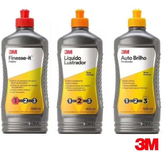 Kit Polimento Finesse + Líquido Lustrador + Auto Brilho - 3m