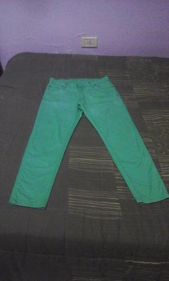 Pantalón De Gabardina Semi-chupin Talle 30 Color Verde.