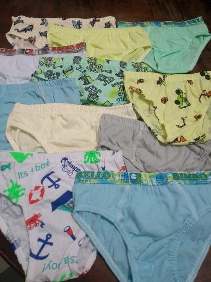 Cueca Infantil Slip Em Algodao Kit Com 10 Unidades