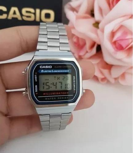 Relógio Casio Unissex A168 Retrô Prata Novo Com Garantia
