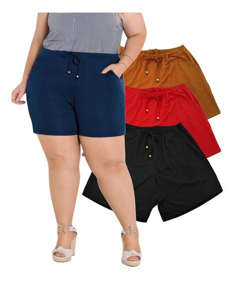 Kit 2 Shorts Bermuda Feminino Plus Size Soltinho G Ao G3